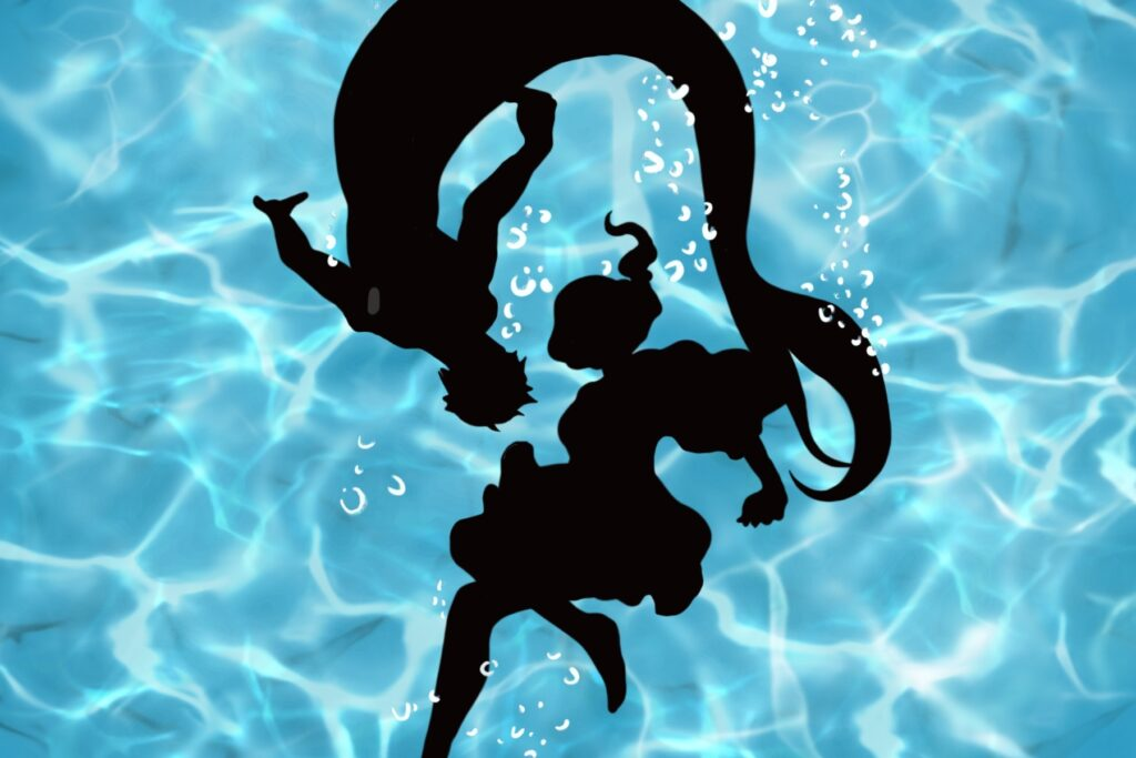 The image shows a male mermaid and a girl circling each other underwater. From Siren's Lament, a webtoon by Instantmiso